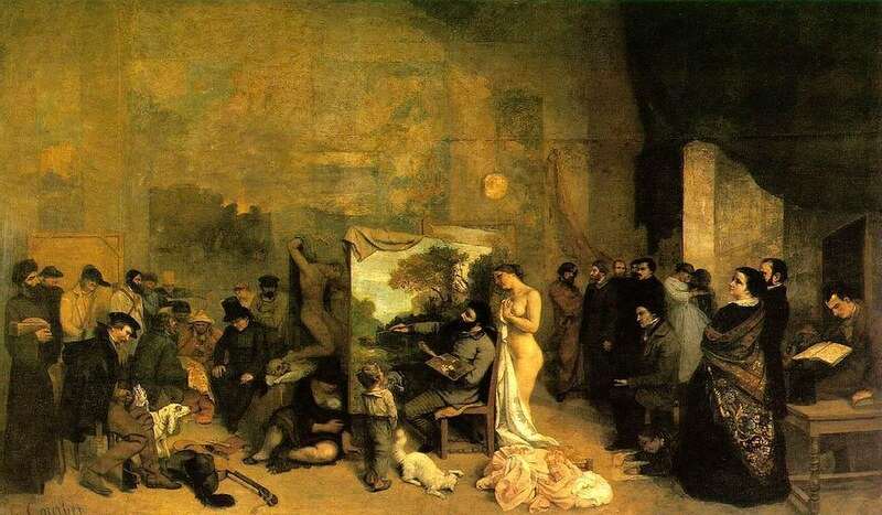 Bild: Courbet, Artist studio 1855. Art Gallery ErgsArt - by ErgSap/Flickr Creative Commons