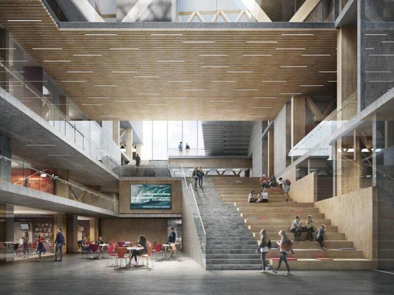 Lindholmens Tekniska Gymnasium. Bild: KUB arkitekter, Bildframställning: Tomorrow. Bild via Göteborg Konst