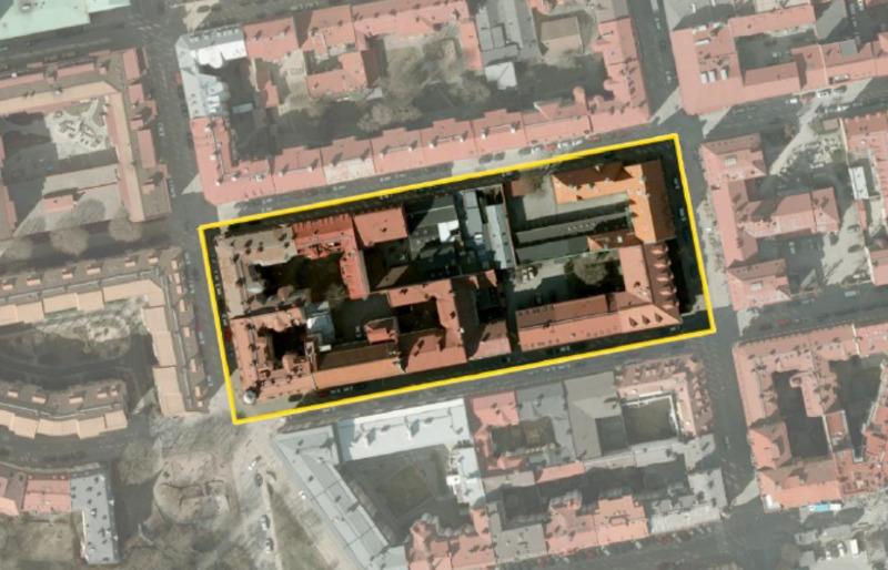 Flygbild över planområdet, Kvarteret Barken är markerat med gul ram.