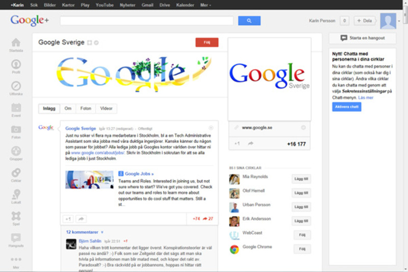 Screenshot av Google+