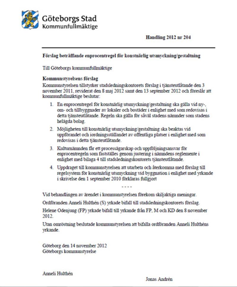 Kommunstyrelsens handling 2012 nr 204