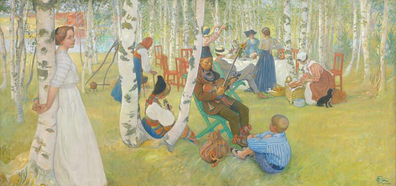 Bild: Carl Larsson, Frukost i det gröna, 1910-1913, (bilden är beskuren), Norrköpings Konstmuseum.