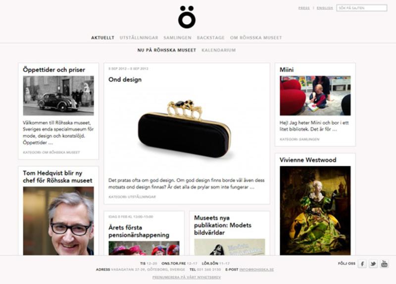Screenshot av Röhsskas nya hemsida