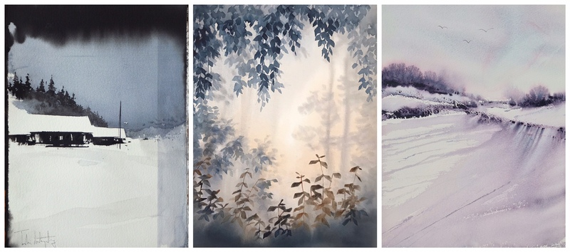 Akvarellutställning med Tobias Liljeborg, Malin Mossberg och Susanne Norberg
