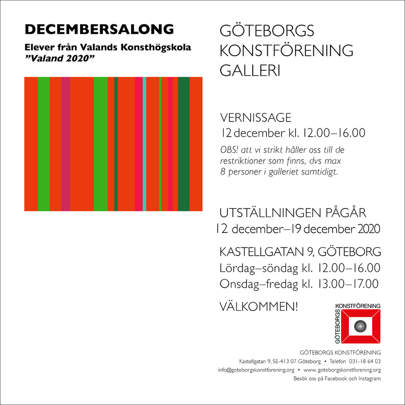 Decembersalong VALAND 2020 - Elever från Valands Konsthögskola ställer ut