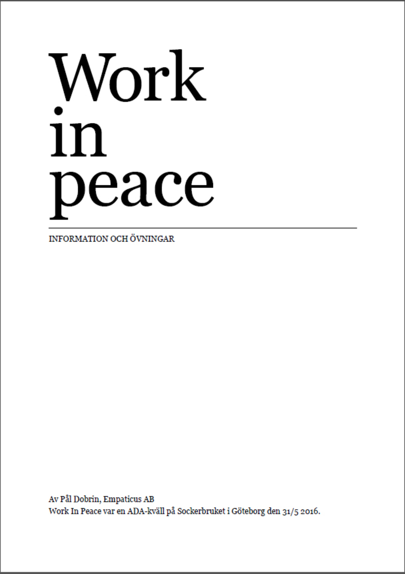 Work in Peace